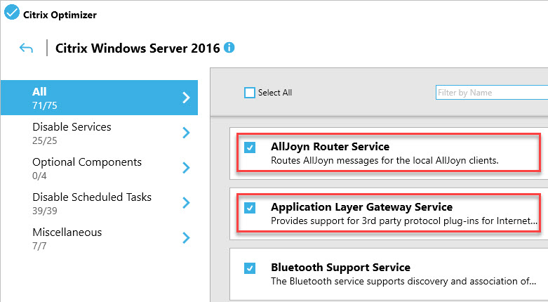 Creating a custom template for Citrix Optimizer - GUI entries