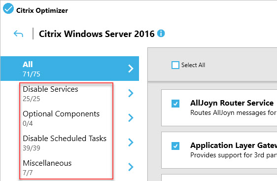 Creating a custom template for Citrix Optimizer - GUI groups