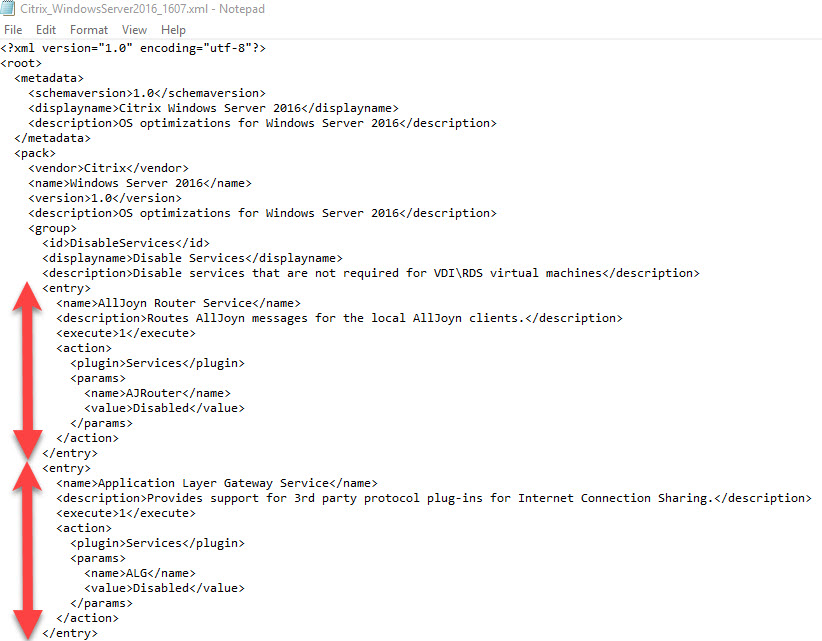Creating a custom template for Citrix Optimizer - XML template entries