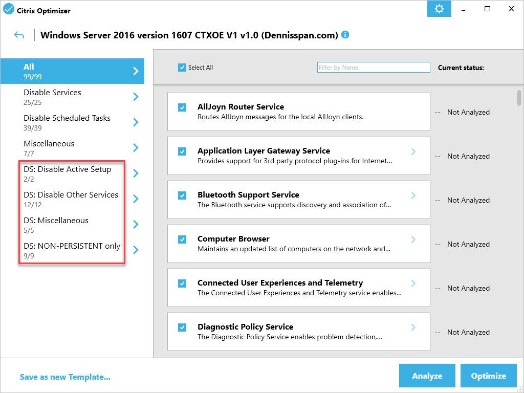 Citrix Optimizer custom template for Windows Server 2016 - Custom GUI