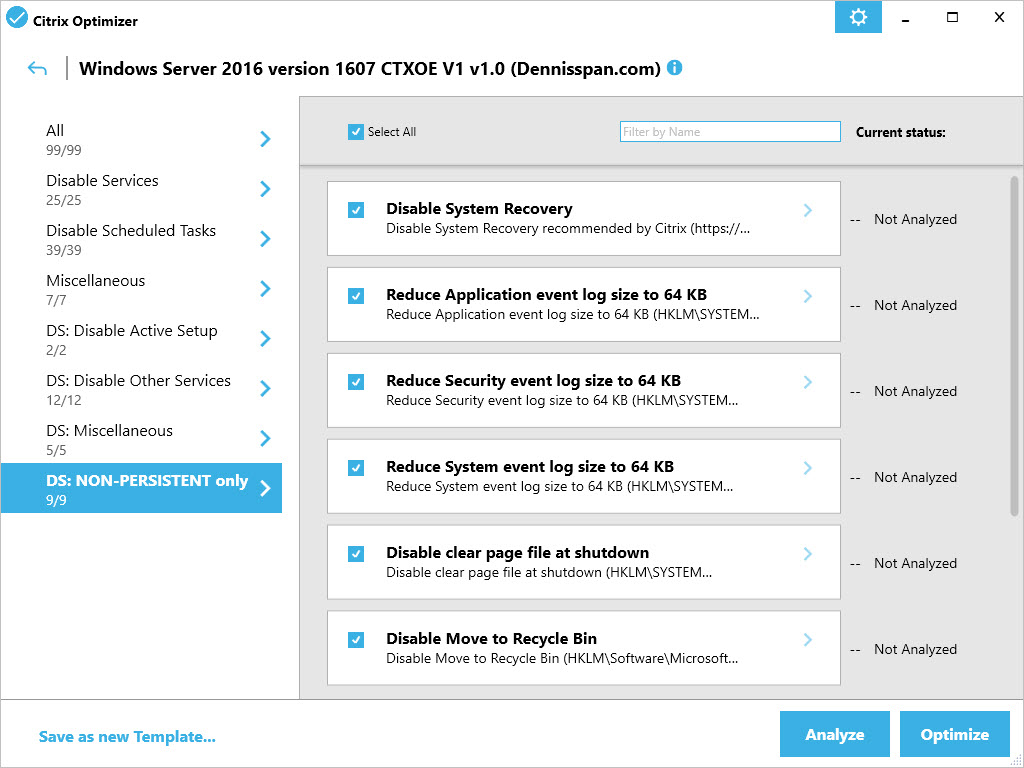 Citrix Optimizer custom template for Windows Server 2016 - GUI NON-PERSISTENT only