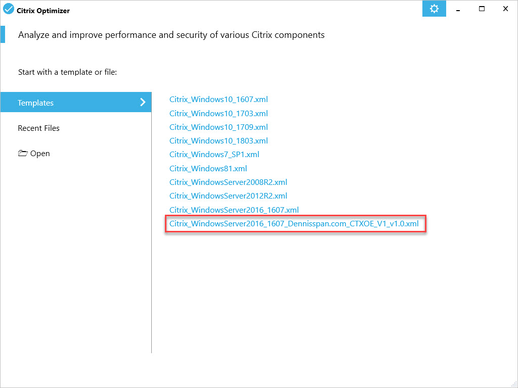 Citrix Optimizer custom template for Windows Server 2016 - Select custom template in GUI