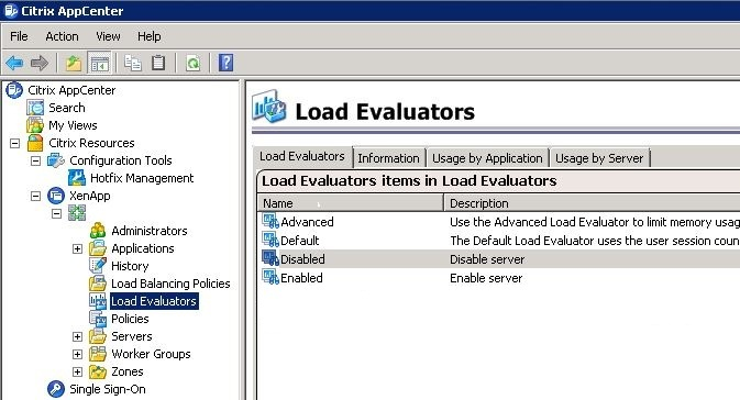 Create and configure load evaluators for XenApp 6.5 with PowerShell: XenApp 6.5 console load evaluators