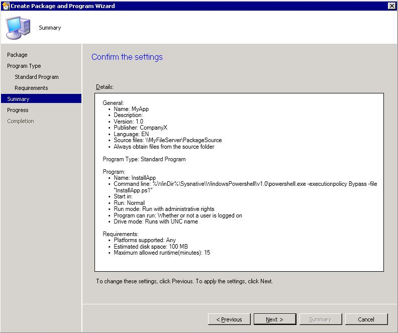 "Automating Citrix with SCCM - SCCM ""create package wizard"" step 5"