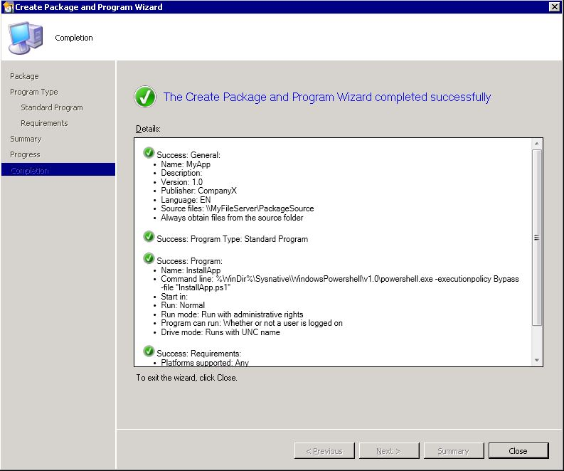 "Automating Citrix with SCCM - SCCM ""create package wizard"" step 6"
