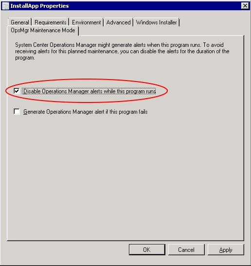 Automating Citrix with SCCM - SCCM program properties (disable operation manager alerts)