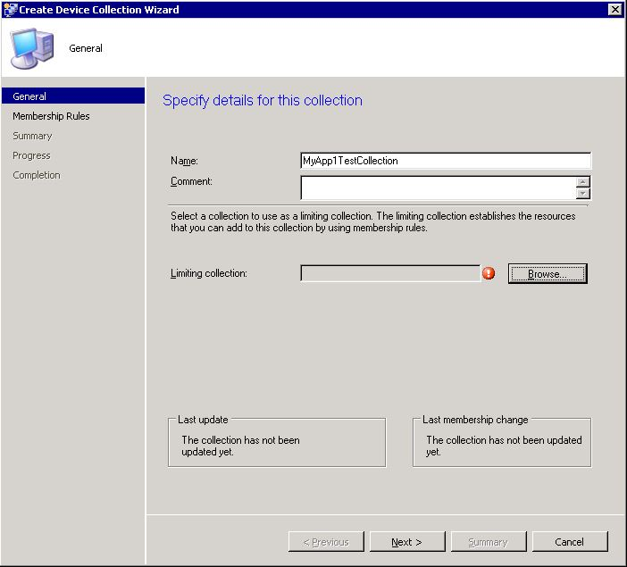 Create SCCM collection - step 1
