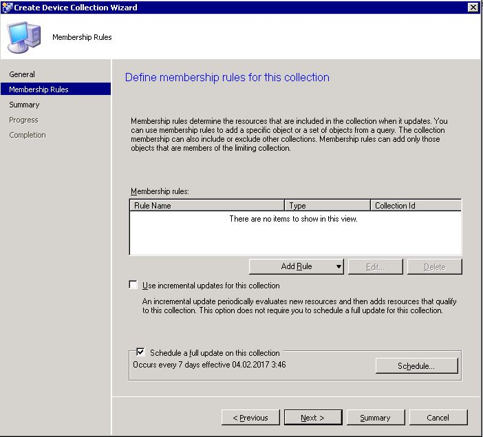 Create SCCM collection - step 2
