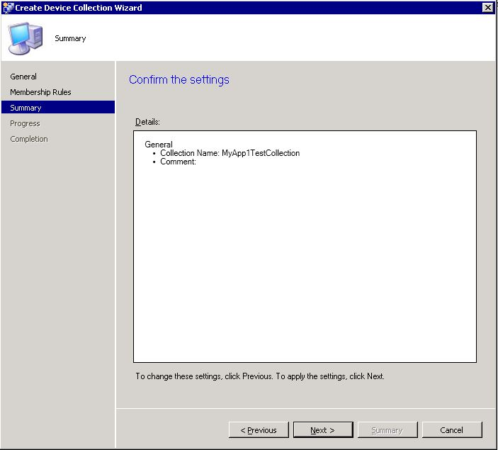 Create SCCM collection - step 4