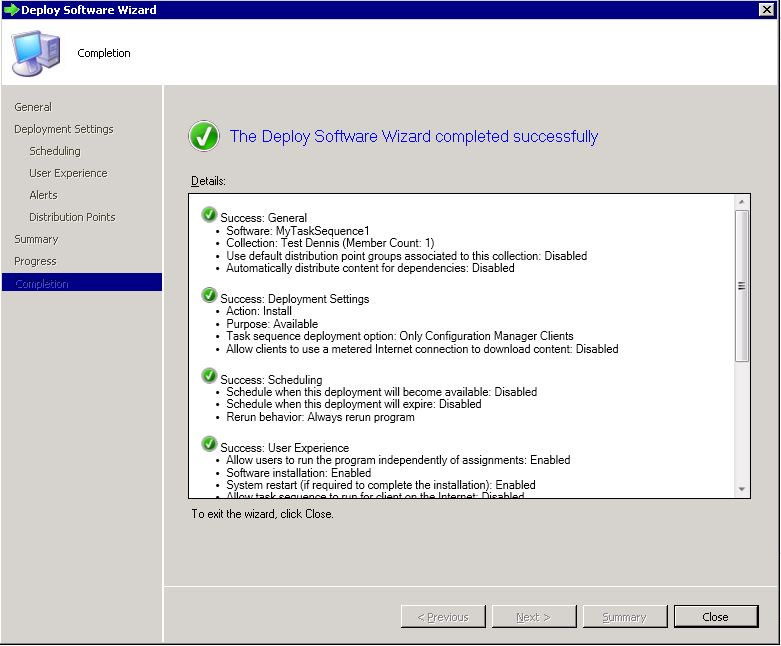 Deploy SCCM task sequence - step 9