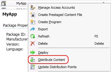 SCCM package - distribute content