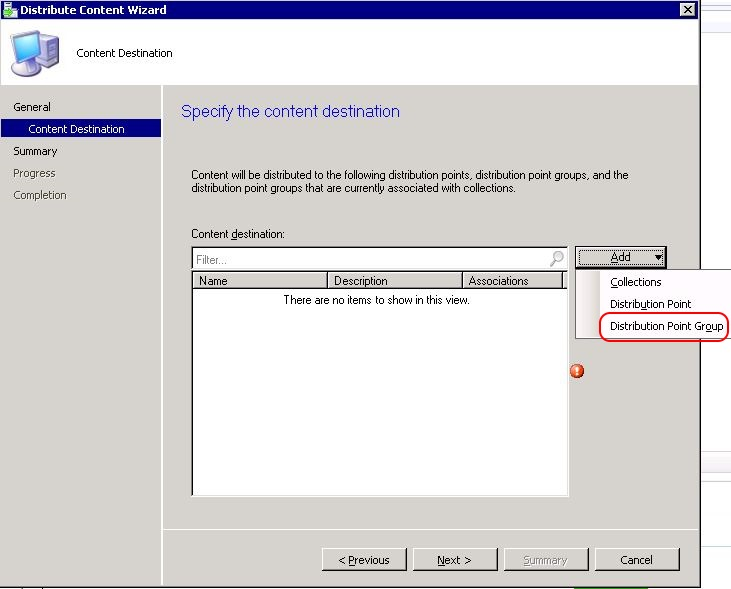 SCCM package - distribute content wizard step 2