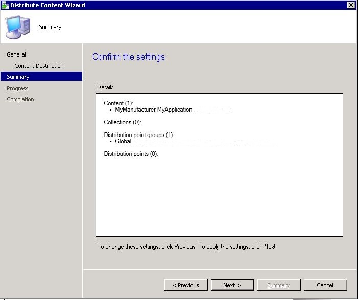 SCCM package - distribute content wizard step 4