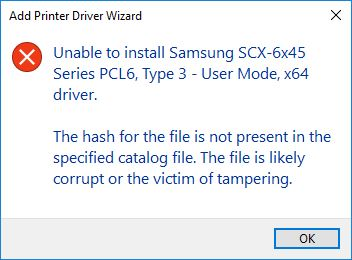 Printer Drivers Installation and Troubleshooting Guide - Driver is corrupt or tampered