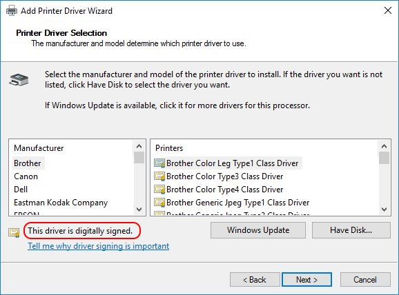 Printer Drivers Installation and Troubleshooting Guide - Driver is digitally signed