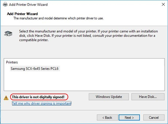 Printer Drivers Installation and Troubleshooting Guide - Driver is not digitally signed