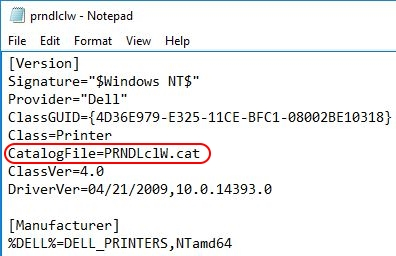 Printer Drivers Installation and Troubleshooting Guide - INF file catalog entry