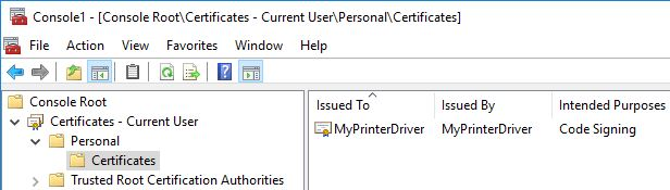 Printer Drivers Installation and Troubleshooting Guide - Personal store self-signed certificate
