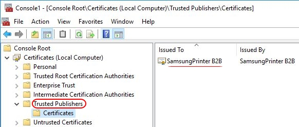 Printer Drivers Installation and Troubleshooting Guide - Publisher certificate in trusted publishers store