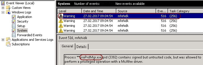 Analyzing the McAfee MFEHIDK event log warning with Process Explorer - Event viewer McAfee mfehidk warnings