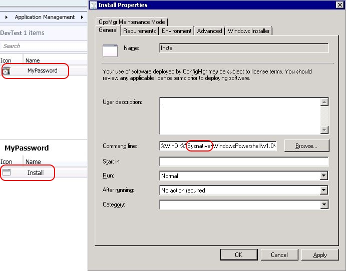 Encrypting passwords in a PowerShell script - Use sysnative in the SCCM program properties