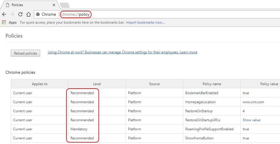 Google Chrome on Citrix deep-dive - Chrome applied policy overview