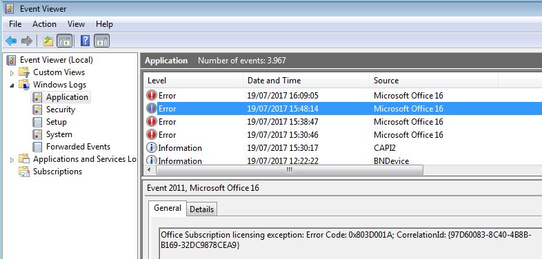 Solving Office 365 activation issues - Microsoft Office licensing error eventlog