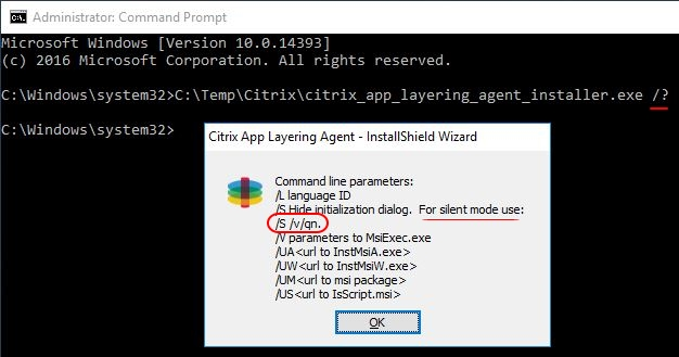 Citrix App Layering Agent unattended installation - Citrix App Layering Agent help