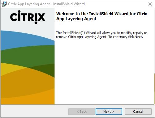 Citrix App Layering Agent unattended installation - installation wizard first window