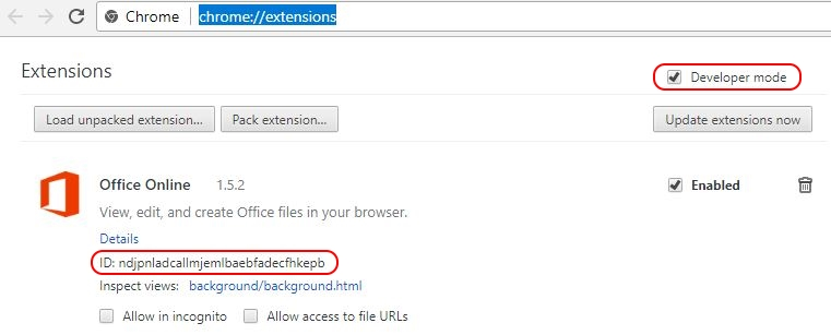 Deploying Google Chrome extensions using Group Policy - Chrome view extensions and retrieve the ID