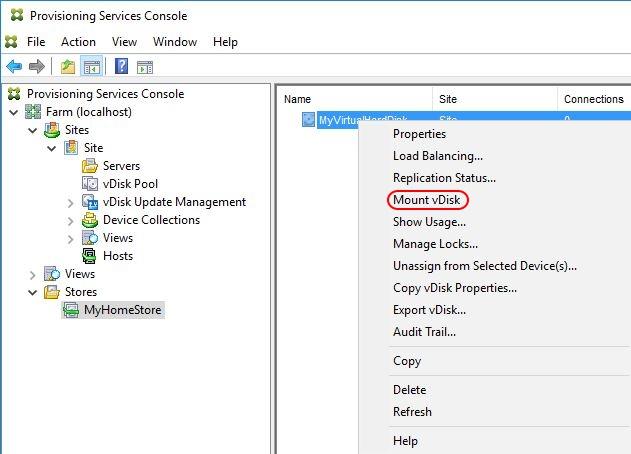 Automate VHD Offline Defrag for Citrix Provisioning Server - Provisioning Server console mount vDisk