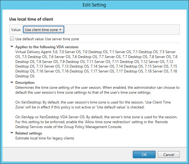Configuring the time zone and code page with Group Policy - CVAD use local time of client