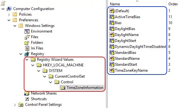 Configuring the time zone and code page with Group Policy - Group Policy Preference time zone settings