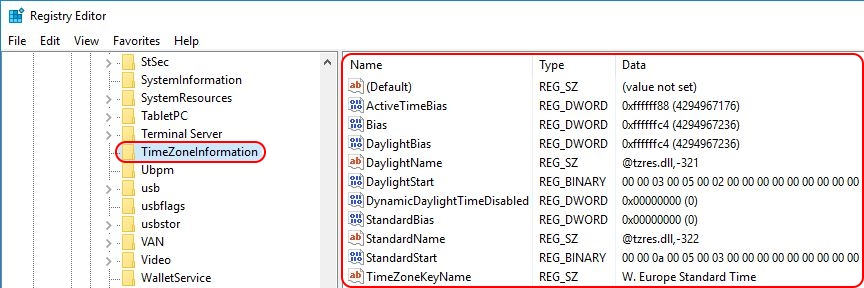 Configuring the time zone and code page with Group Policy - Time zone registry settings