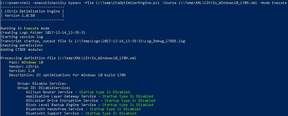Image Optimization Tools Comparison Matrix - Citrix Optimizer running