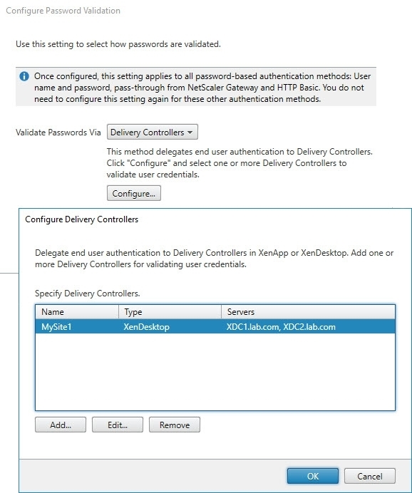 Translating the Citrix StoreFront console to PowerShell - Manage Authentication Methods - User name and password - Configure Password Validation