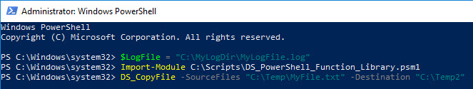 PowerShell function library - Define custom logfile