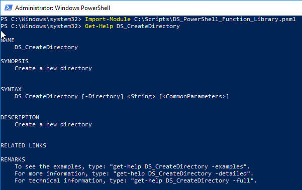 PowerShell function library - Import-Module and Get-Help
