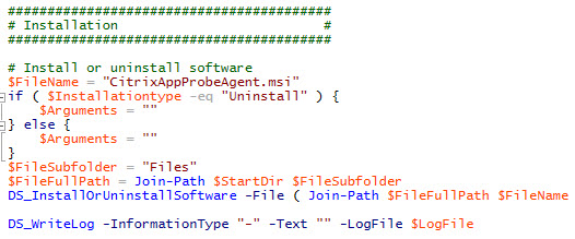 Citrix Application Probe Agent unattended installation - Screenshot PowerShell script probe agent installation