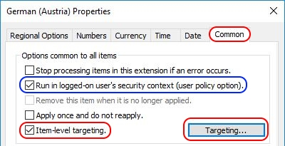 Configuring Regional Settings and Windows locales with Group Policy - Group Policy Regional Settings Item-Level Targeting button