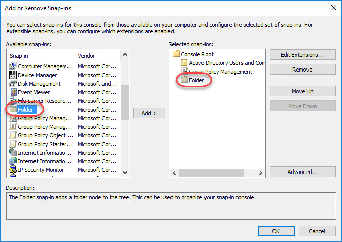 Creating a custom management console for your Citrix tools - Add folder snap-in