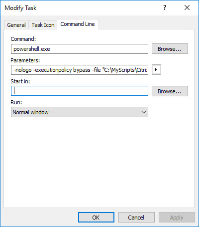 Creating a custom management console for your Citrix tools - Create new taskpad item - PowerShell script