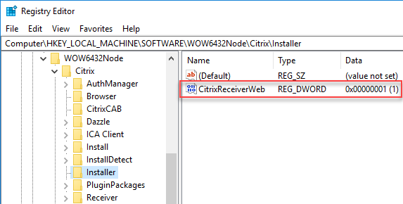 Citrix Workspace App unattended installation with PowerShell - Registry value connected to renaming Workspace App exe