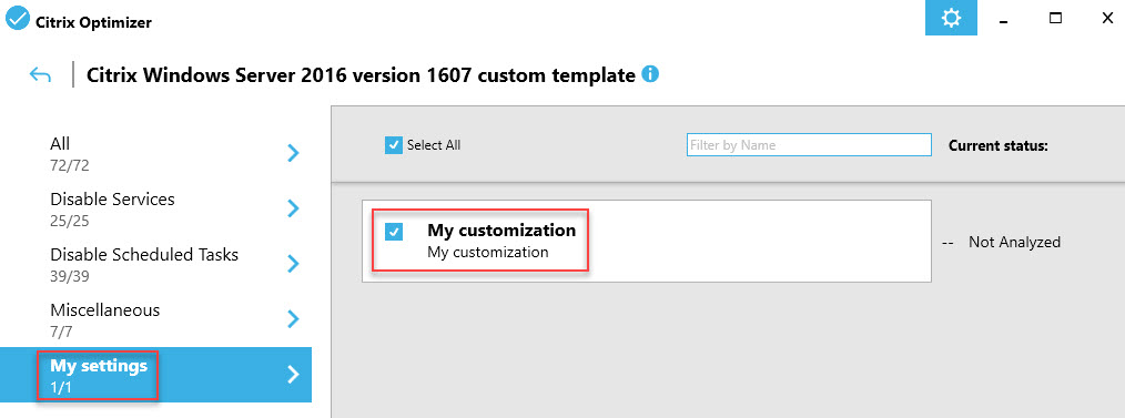 Creating a custom template for Citrix Optimizer V1 - Custom template open in Citrix Optimizer