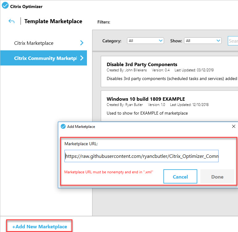 Creating a custom template for Citrix Optimizer - Add new template marketplace
