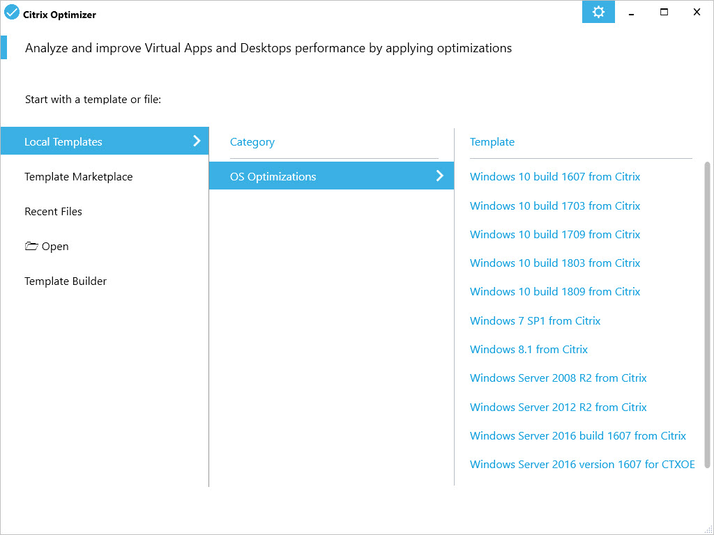 Creating a custom template for Citrix Optimizer - Citrix Optimizer screenshot