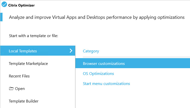 Creating a custom template for Citrix Optimizer - Example multiple categories