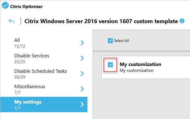 Creating a custom template for Citrix Optimizer - Example of a mandatory setting