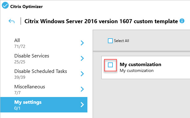 Creating a custom template for Citrix Optimizer - Example of an optional setting