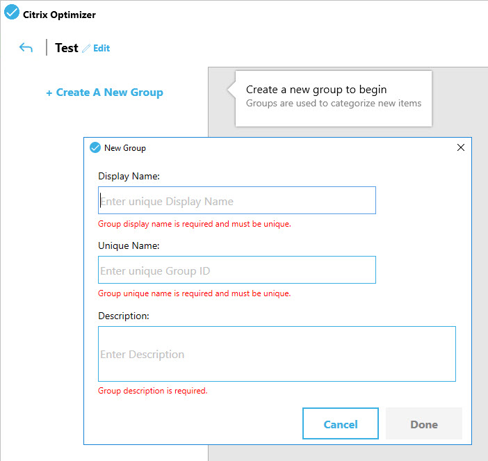 Creating a custom template for Citrix Optimizer - Template Builder new template create new group